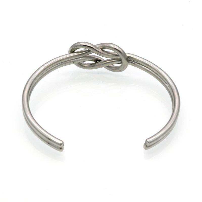Mode En Acier Inoxydable 316L Bijoux Noeud Ouverture Bracelets Femmes Bracelet De Manchette Pour Dames Accessoires Cadeaux Or Argent