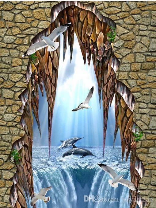 3D обои пол фрески индивидуальные 3D стереоскопический обои для гостиной морских дельфинов 3д плитка