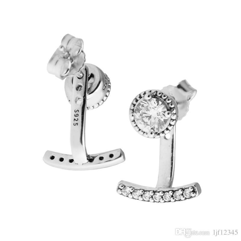 추상 우아함 클리어 CZ 스터드 귀걸이 원래 925 스털링 - 실버 쥬얼리 유럽 스타일 귀걸이 스터드 여자 쥬얼리 발견