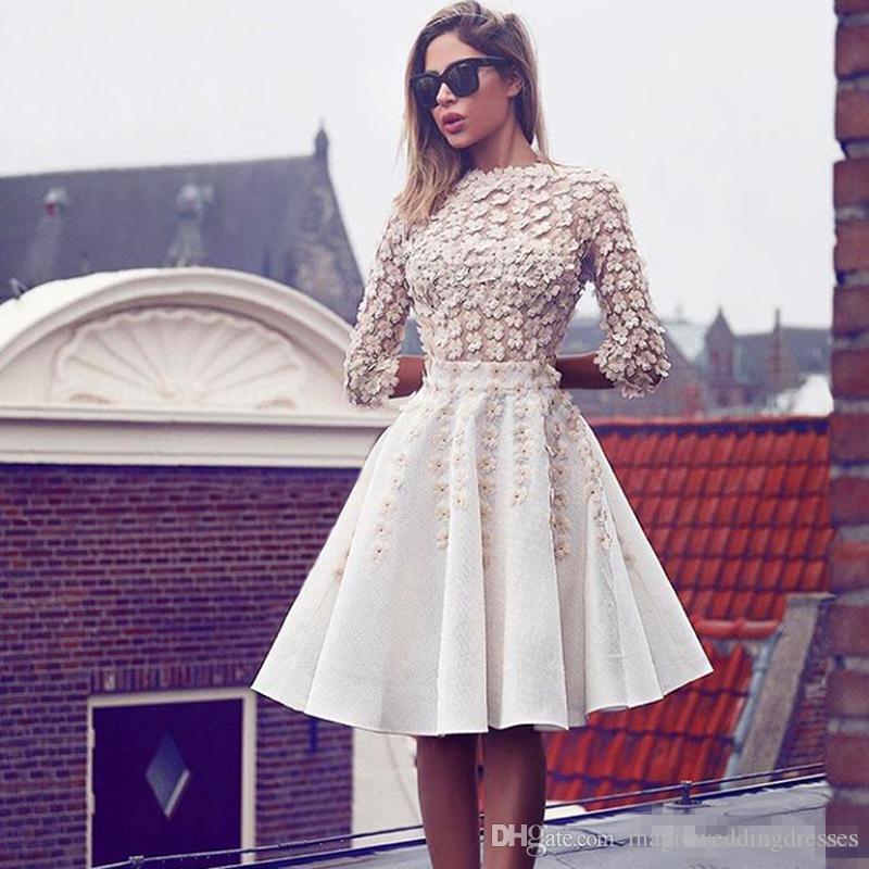 .2017 New Design 3D Floral Short Prom Dress 3/4 Sleeve Applique Knee Length Unique Cocktail Dress Top Quality Custom Made Formal Wear