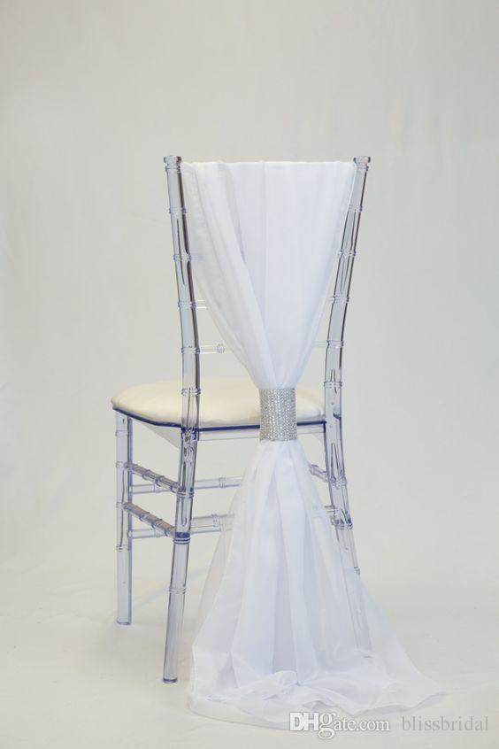 Simple mais élégante mousseline de soie blanche Chaise de mariage couverture et Jupettes romantique Bridal Party Banquet chaise