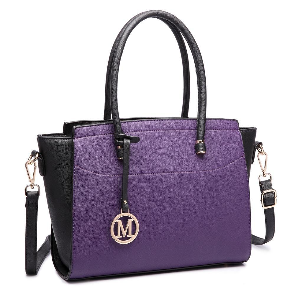 Nice- Miss Lulu Women Classic Winged Leather Shoulder Handbag Purple And  Black LT5513