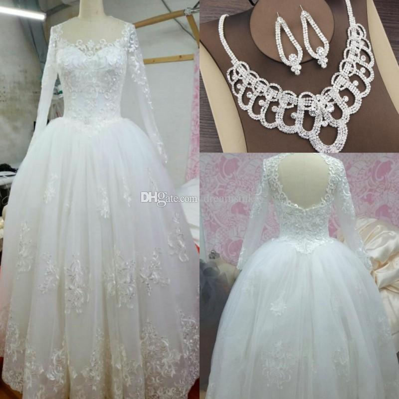 2017 Long Sleeves Arabic Ball Gown Vintage Wedding Dresses Jewel Neck Lace Bridal Gowns Real Photos With Free Necklace Set Cute