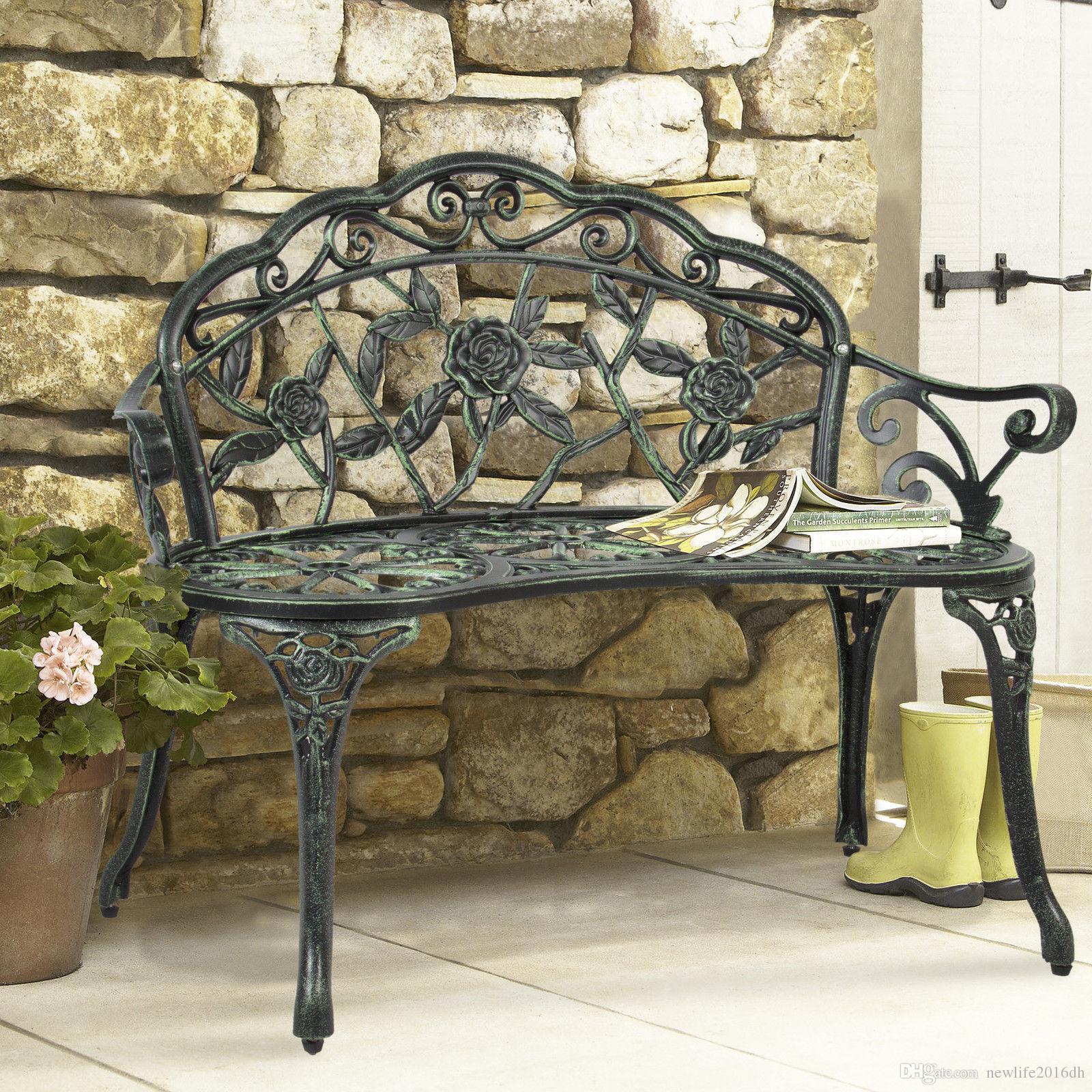 Patio al aire libre Banco de jardín Parque Patio Muebles de hierro fundido  Antique Rose Design