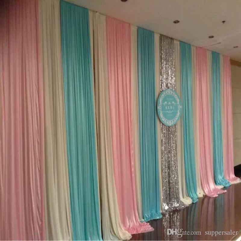 3m*6m Fashion Colorfui Ice Silk Wiht Sequins Swag Wedding Backdrop Curtain Baby  Shower Backdrop , Wedding Drapes Backdrop Dhl Kids Party Decorations Kids  ...