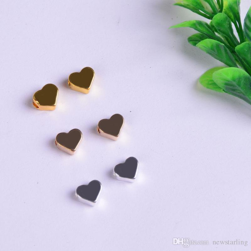 2mm Big Hole Loose Beads charme pour Pandora DIY bijoux BraceletCollier en forme de coeur composants or / argent / Gun noir
