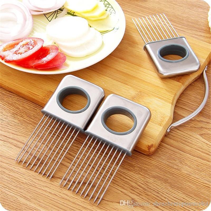 Rostfritt stållök Tomathållare Slicer Köttmedel Vegetabiliskt Skärverktyg
