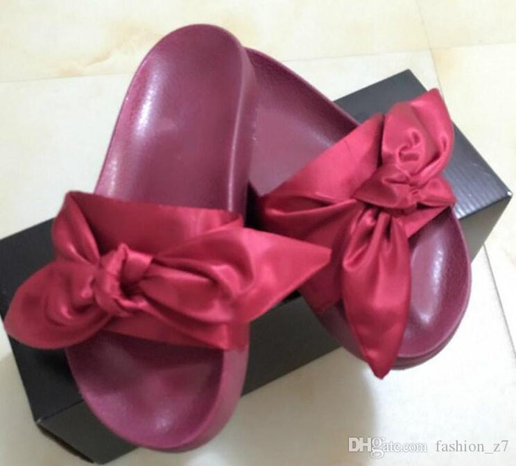 newest rihanna leadcat fenty bow heart satin slides all pink all