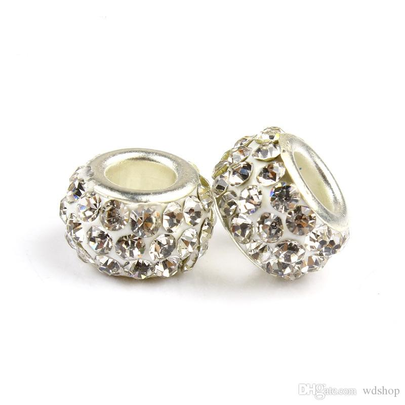Multicolor 3 Rows Dazzling CZ Spacer Charm Beads Fit Charm Bracelet Pendants DIY Jewelry Big Hole European Beads