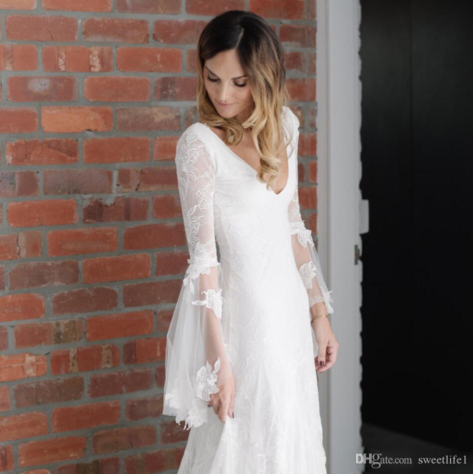 Nuevo blanco 2019 bohemio tul encaje vestidos de novia de manga larga con cuello en V tren tren Backless gótico vestido de novia