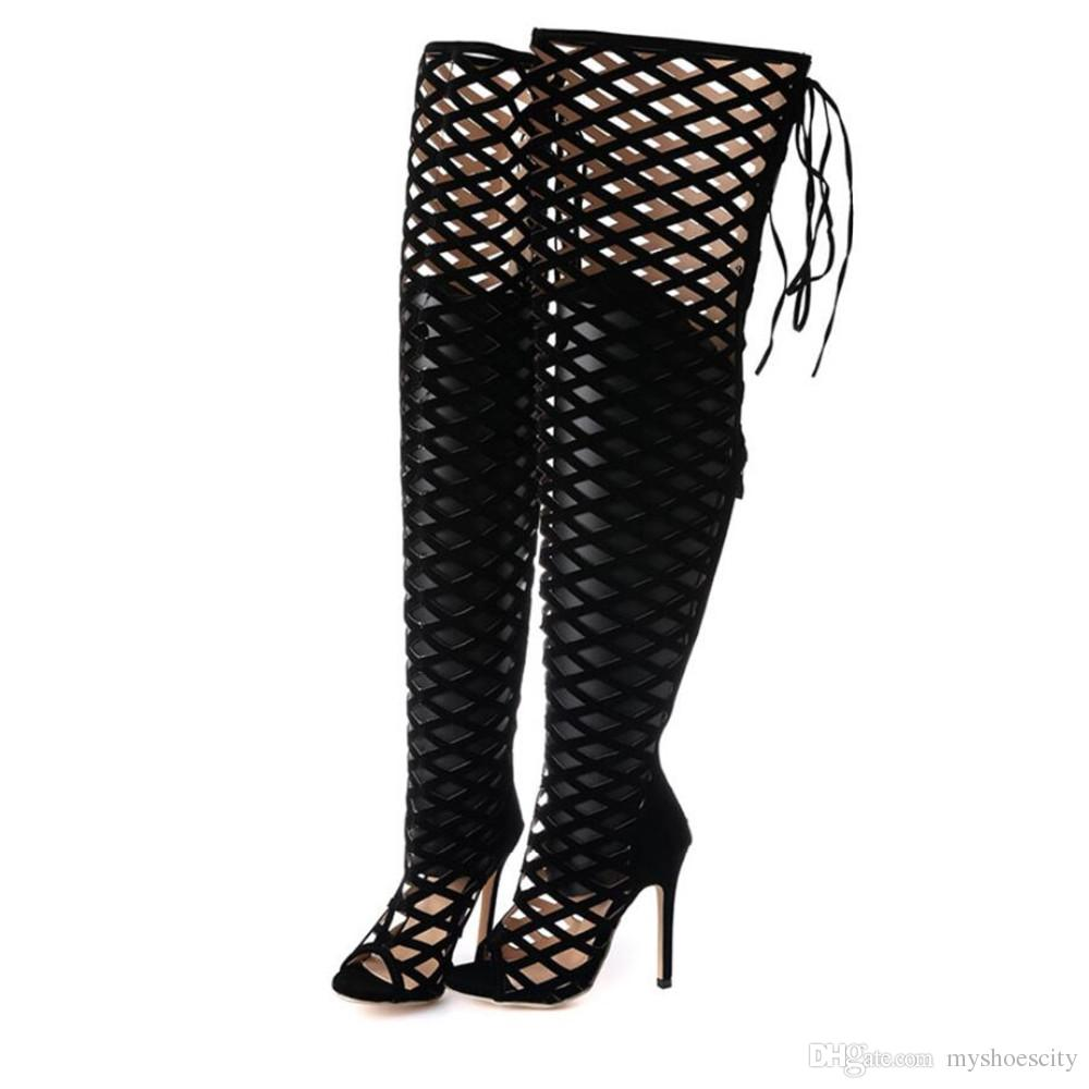 872fc48cf73 Sexy Womens Over Knee Gladiator Sandals Black Cut-outs High Heel ...