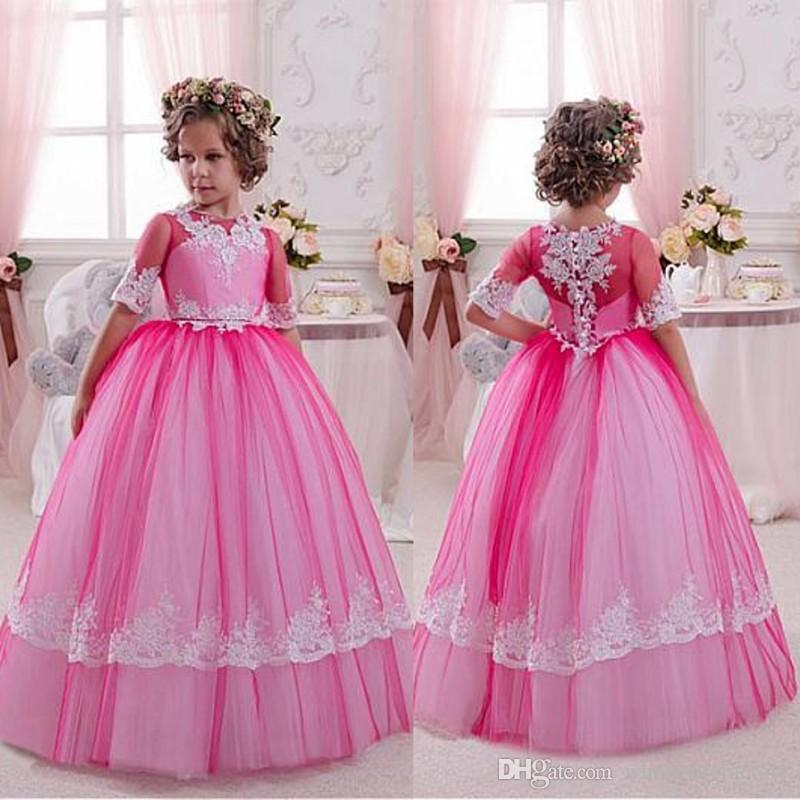 Compre Lindo 2017 Vestidos De Niña De Las Flores De Color Rosa Jewel ...