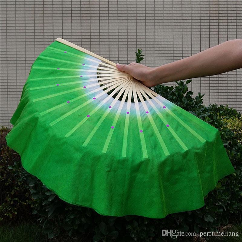Chinesische Seide Schleier Bambus 18 Rippen Fan Kurze Schleier Nizza Bauchtanz Fans Bühne Leistung Tanz Requisiten Geschenk 5 Farben ZA1656