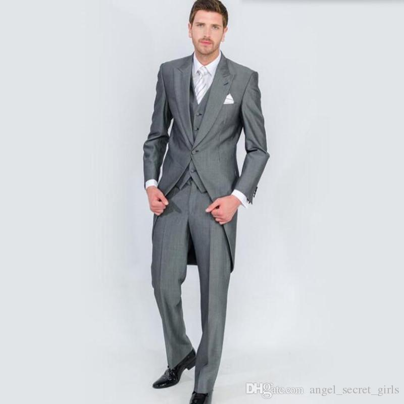Fashion Leisure Suit Perfect Male Suits Peaked Lapel one Button Gray Groomsman tailcoat Wedding men SuitsJacket+Pants+vest