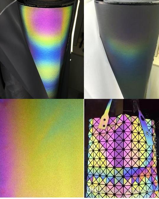 50cm*135cm Night Colorful Iridescence Reflective Leather Fabric Personality Bags Garment Shoes material