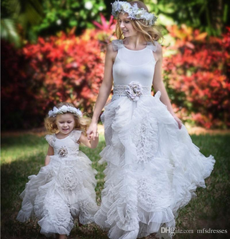 4981c1ca07 Princess White Ivory Flowers Crystal Rosette Flowers Flower Girl Dresses  Girls first Communion Tulle Rustic Girls Birthday Princess Dress