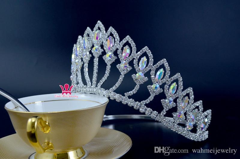 Orta Taçlar Tiaras Özledim Güzellik Yarışmasında Kraliçe Taç Mix Kristal AB Düğün Olaylar Gelin Saç Aksesuarları Headpieces Kafa Bandı Mo217