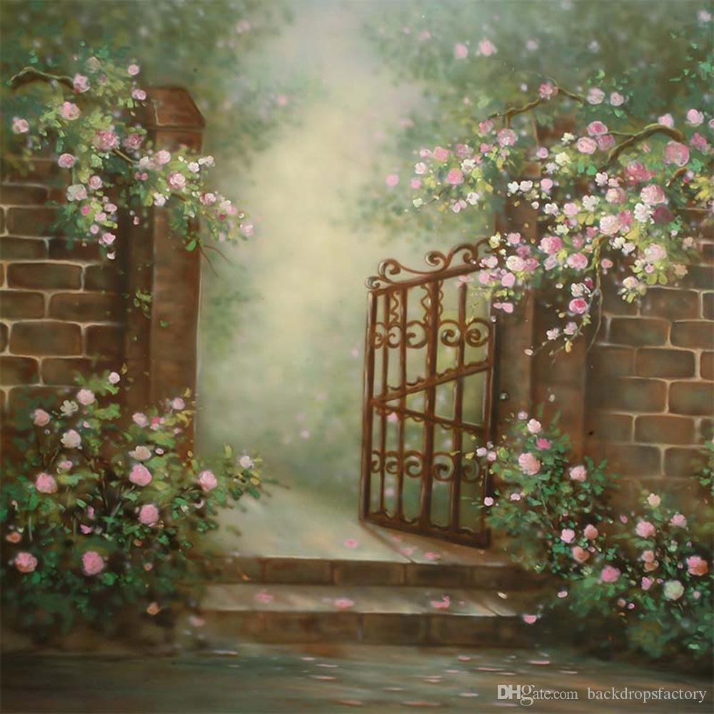 White Pink Flowers Garden Backgrounds Digital Painted Brick Wall ...