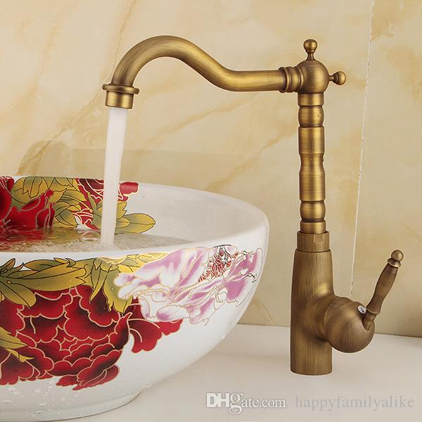 2018 Antique Style Bathroom Sink Faucet With 1 Handle Polished Brass ...