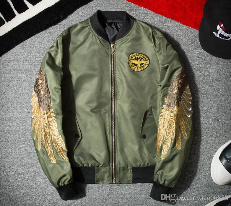 MA1 pilot flight Bomber jacket Korean Youth Clothes embroidery gold wings pure Outerwear for Men Women Spring baseball Coat
