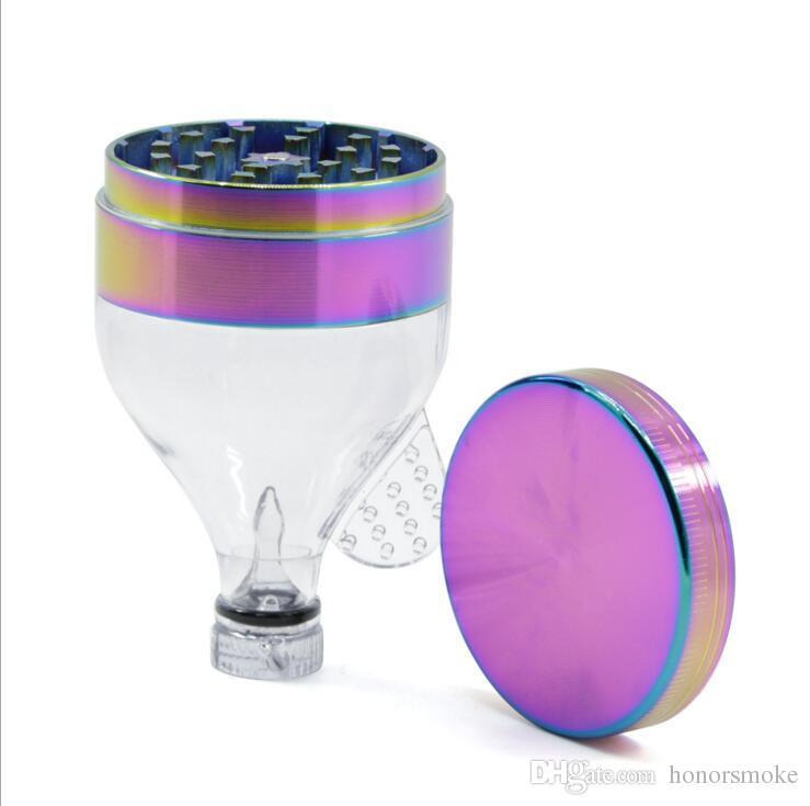 iceblue rainbow Thread Funnel Metal Grinder 52mm Diametre Zinc Alloy Acrylic Herb Grinders 4 Parts Tobacco Smoking Accessories Device tool