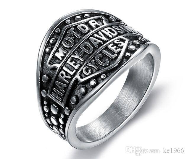 316 Stainless Steel Fashion Silver Black Motorcycle Mens Ring Band