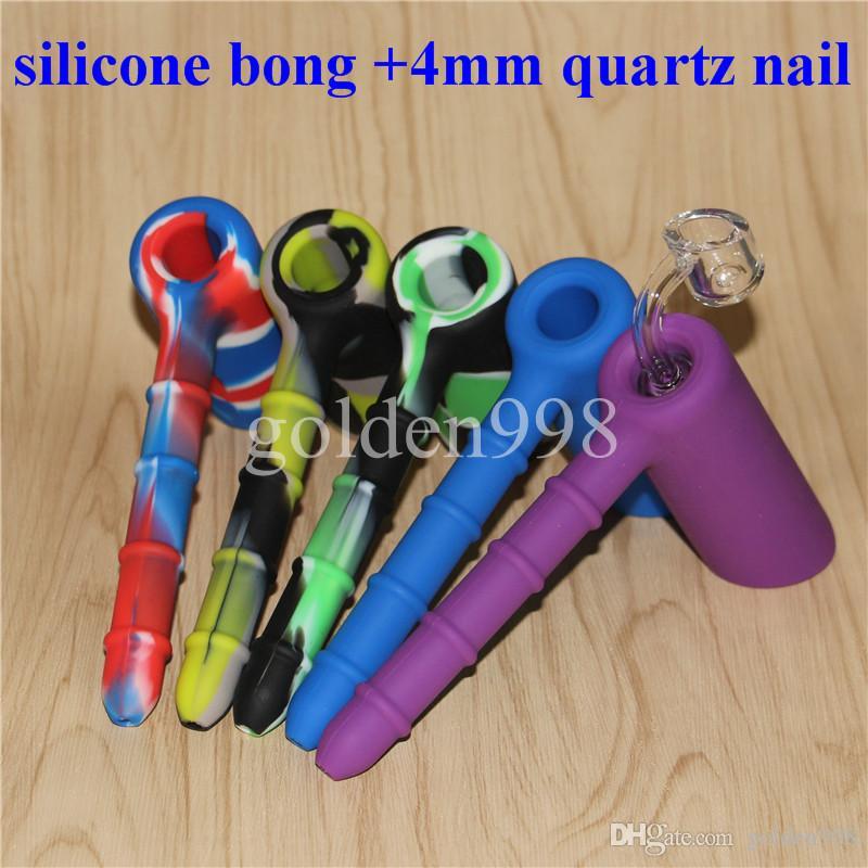 vente en gros Silicon Rigs Silicone Bangs Narguilé Silicone Bong avec des clous de quartz mâle clair 4mm 18.8mm