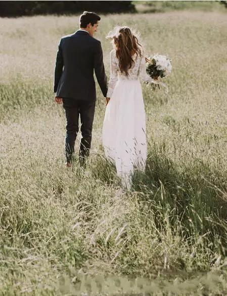 Vestidos de novia de encaje bohemio con País de manga larga de longitud de un aplique de encaje de gasa de Boho Line vestidos de novia barato