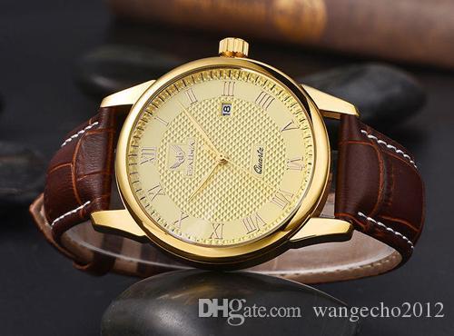 billige authentische marke gold fall japan quarz leder band römische zahl gesicht armbanduhr für männer weihnachten geschenk kostenloser versand