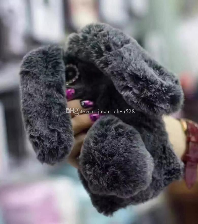 Fluffy Lazy Rabbit Ears Hair Ball Fur Diamond Plush Case Cute Lady Phone Winter Warm Cover for Iphone 6 6s plus 7 7plus