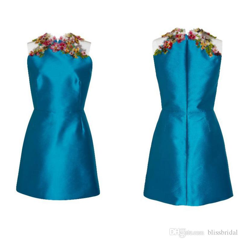 Embellished Neck Mini Formal Party Dress Lower Thigh Length Evening Dresses New Cheap Satin Sleeveless Homecoming Dress