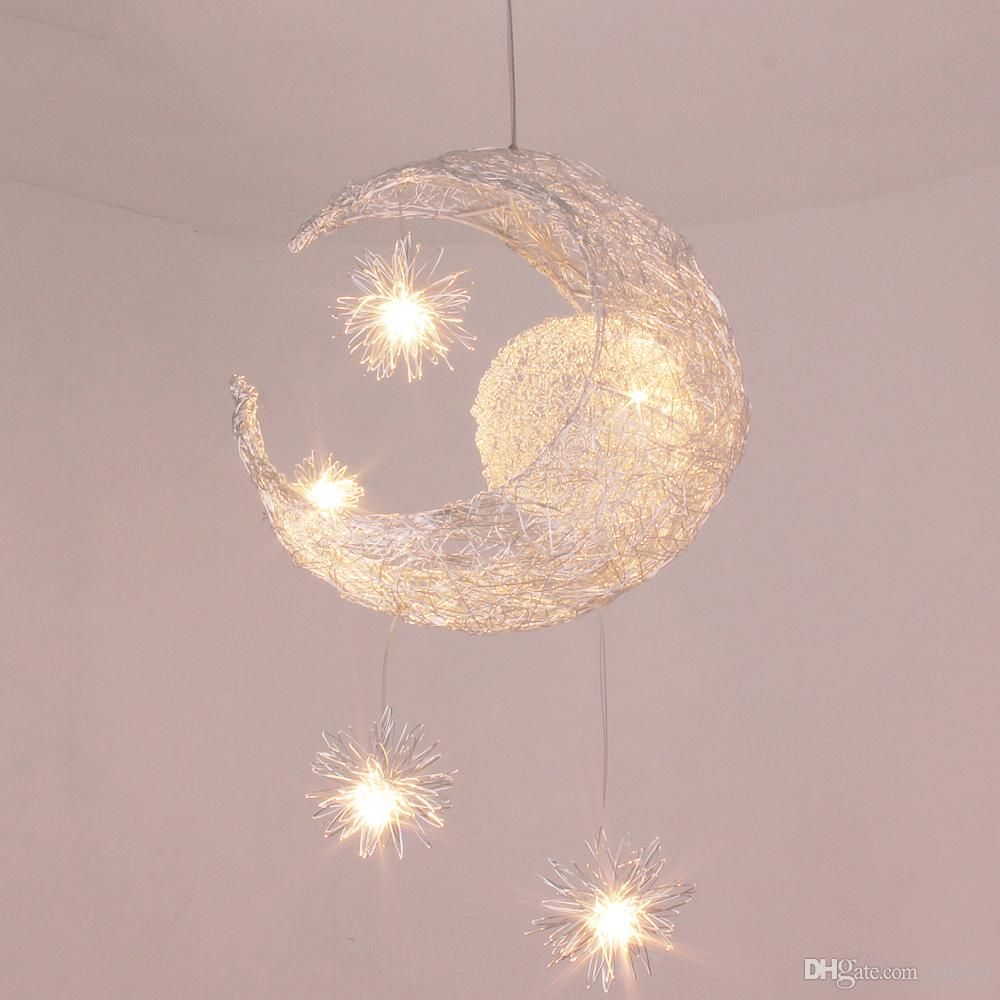 Aluminum moon stars kids bedroom ceiling pendant lamp moon star aluminum moon stars kids bedroom ceiling pendant lamp moon star childrens study room hanging lights balcony corridor pendant lamps hanging pendant glass arubaitofo Gallery