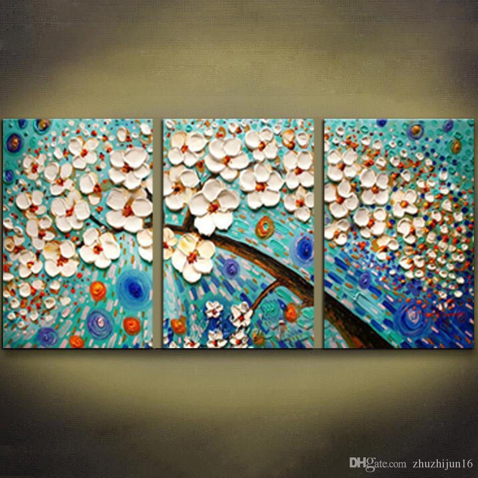 Großhandel Unframed Weiße Blaue Blumen Baum Paletten Messer Malerei ...