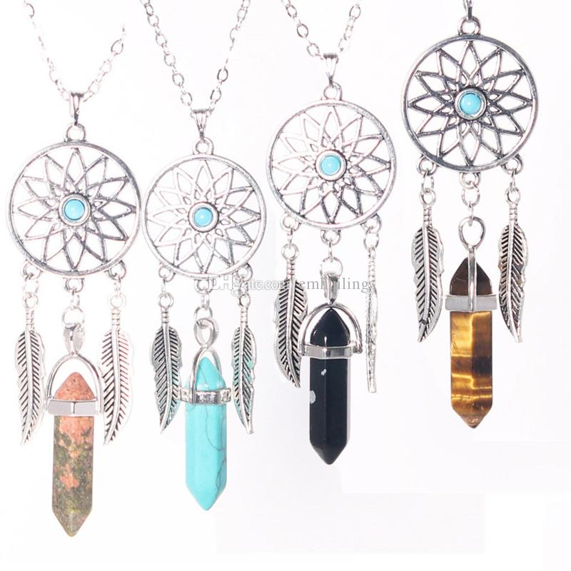 Wholesale Women's Dangling Feather Natural Stone Tiger's Eye Jade Charms Filigree Tribal Dreamcatcher Pendant 50cm Link Chain Necklace