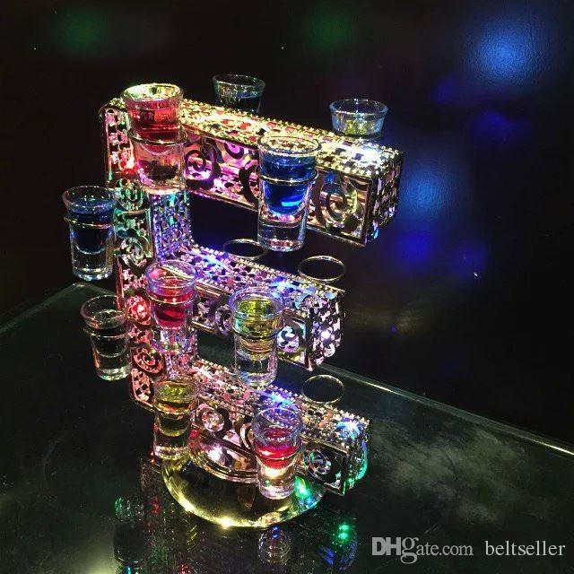 New arrival Rechargeable Luminous Light Up LED Love shaped Cocktail Cup holder red Wine Glass Cup Holder for club bar Party Decoration