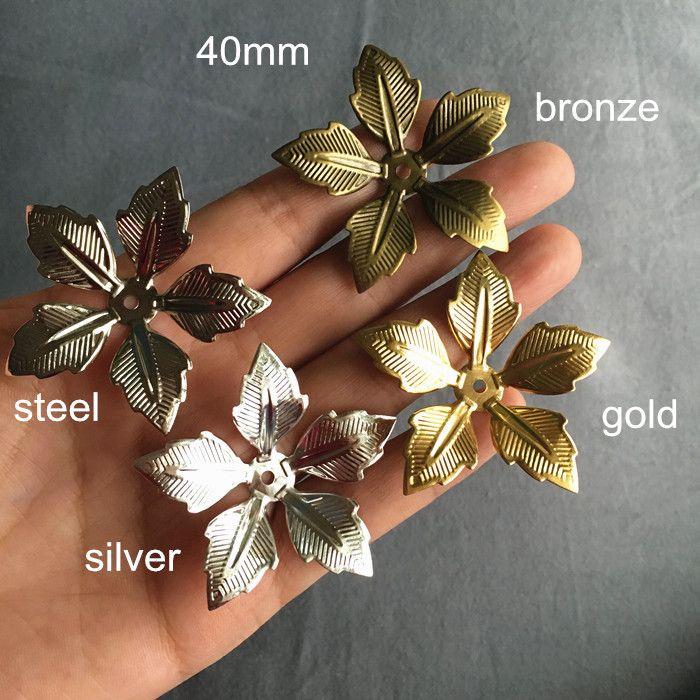 Big 3D Metal Flower Bead Caps 40mm Gold-color,Silver-color,Bronze,Steel Color,5 Petal Metal Flowers,DIY Crafts Supplies
