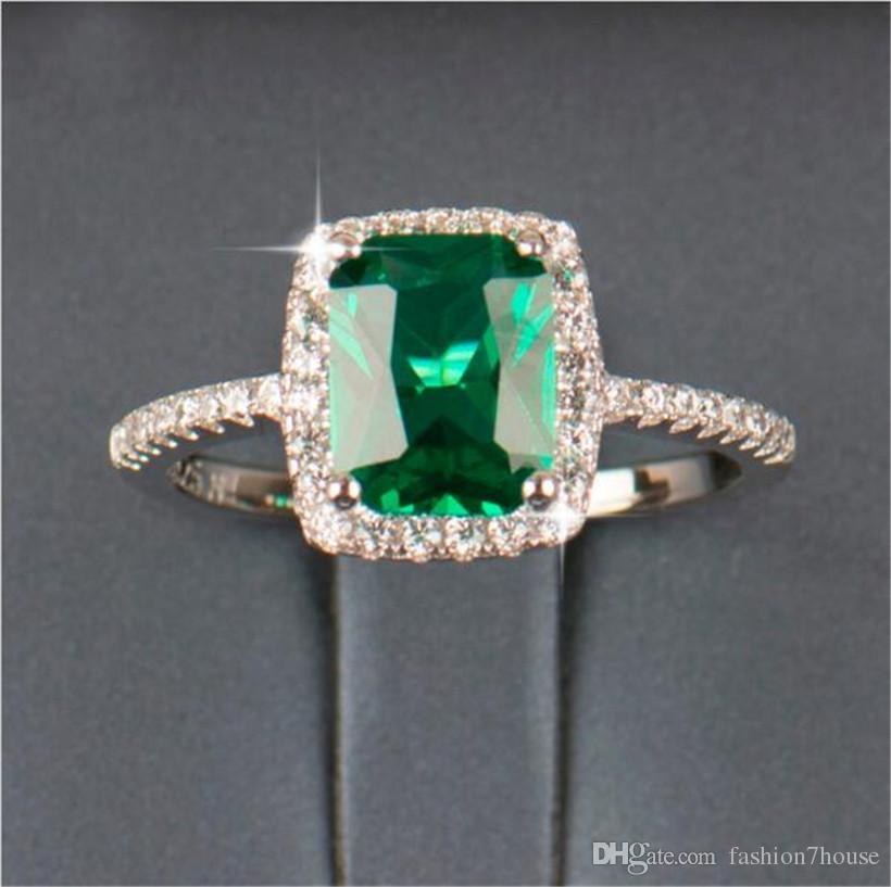 Grande promozione 3ct anello in argento 925 reale SWA elemento diamante smeraldo anelli di pietra preziosa le donne all'ingrosso gioielli di fidanzamento nozze nuovo