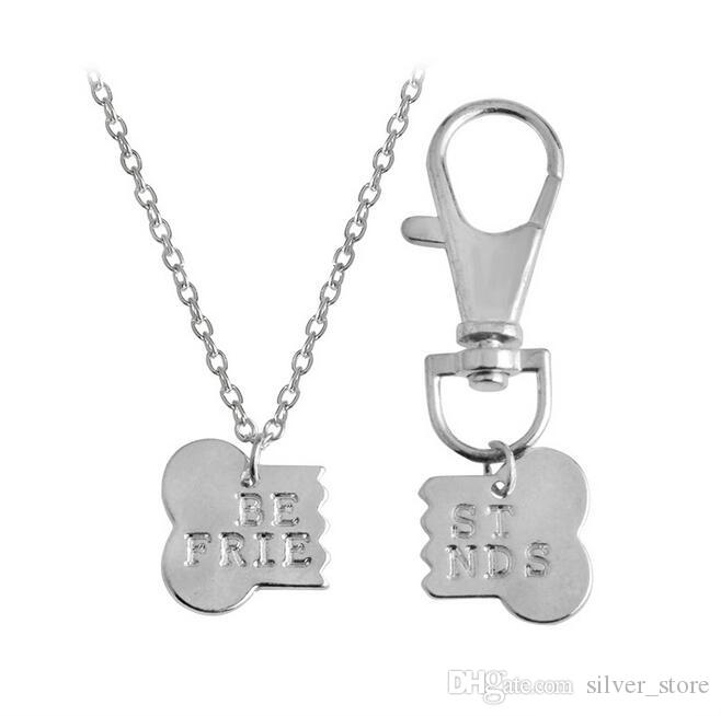 Best gift Good friend BEST FRIENDS Two Petty Pet Dog Bones Master Necklace Dog Brand WFN402 with chain 20 =