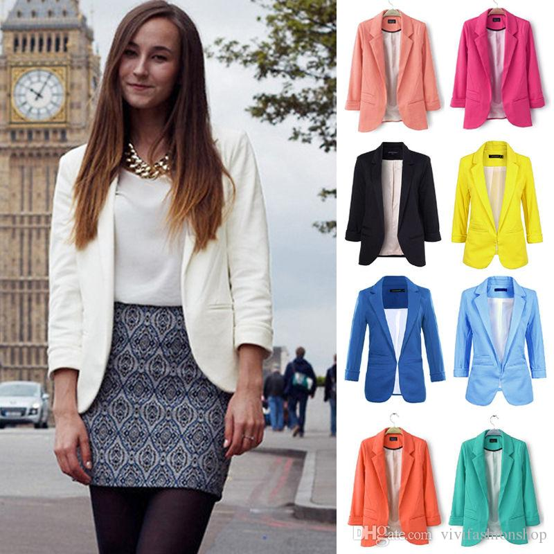 e3695d1ceaee2 2019 2018 Fashion 9 Design Plus Size Outwear Slim Fitness Womens 3 4 Sleeve  Candy Color Blazer Casual Jacket Suit Coat CL244 From Vivifashionshop