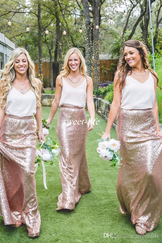 Two Tone Country Bridesmaid Dresses White and Rose Gold Sequins 2017 Cheap Formal Party Gowns Wedding Maid of Honor Dress Plus Size Cheap