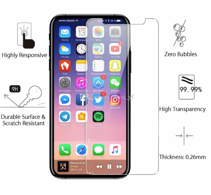 For Iphone X 8 7 7 plus 6 J7 2017 LG Stylo 3 Screen Protector Film Tempered Glass For Samsung S6 S7 S8 EP Premium quality Retail Box 1 PACK