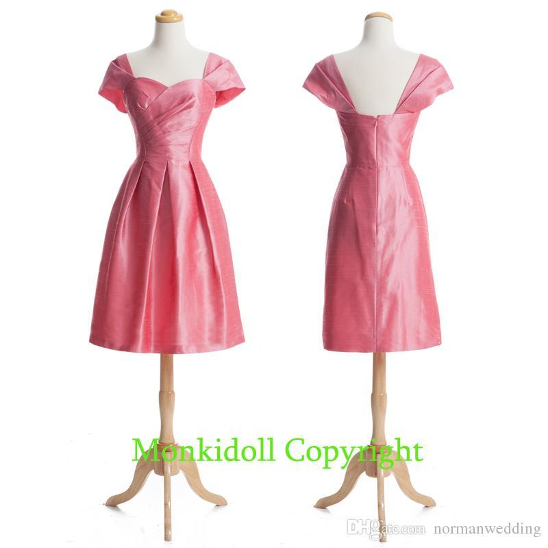 Cute Cap Sleeves Coral Bridesmaid Dresses Knee Length Taffeta Short ...