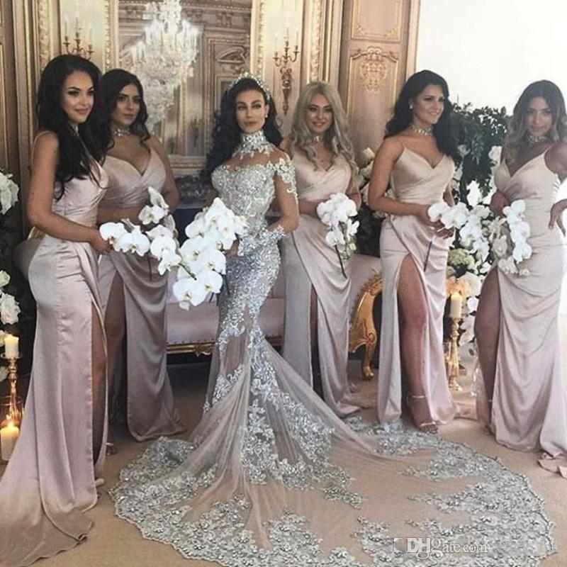 Gorgeous Cuello alto Mangas largas Vestidos de novia Sheer escote Ver a través de sirena Vestidos de novia Apliques de encaje Granos Lentejuelas Vestido de novia