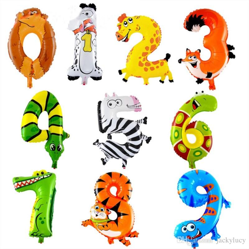 500pcs/lot 16 inch Animal Arabic numerals Balloon Cartoon Foil Balloons for Birthday Wedding Party Decoration Kid Toys