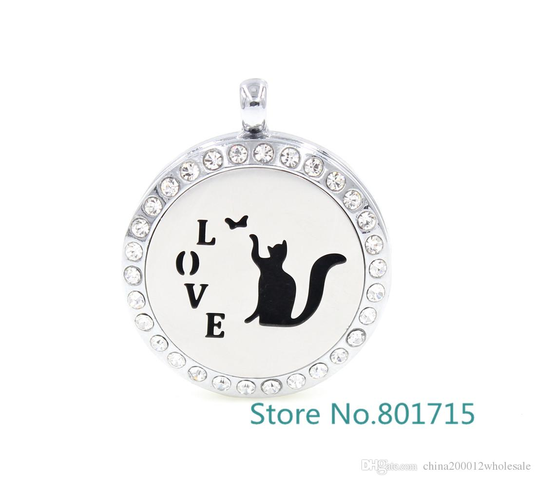 Round Silver love cat 30mm Aromatherapy / Essential Oils Alloy frame with Stainless Steel Face Perfume Diffuser Locket XX008