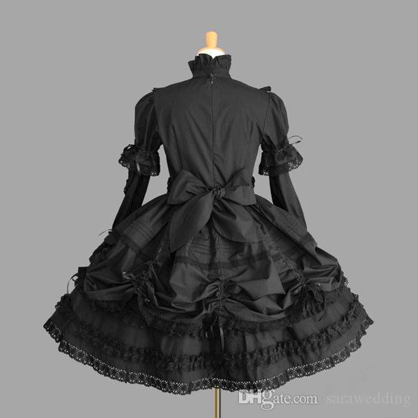 높은 목 어두운 여신 레이스 쇄도 픽업 긴 소매 이브닝 가운 간단한 우아한 짧은 댄스 파티 드레스 2020 코스프레 드레스