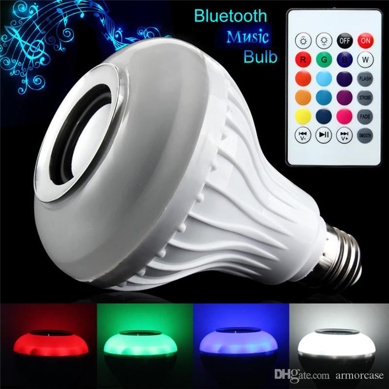 LED Music Bulb Wireless Bluetooth Speaker Bulb Remote Controller Music RGB Color Warm Lights Lamp With Music Playing For Iphone Andorid New