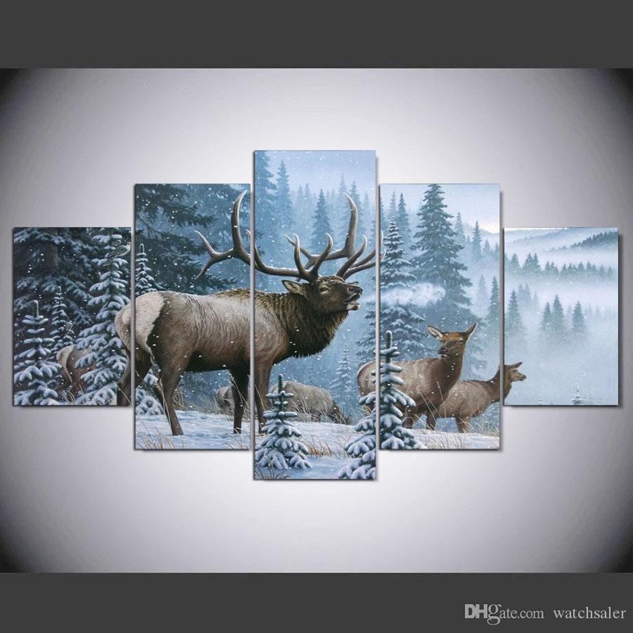 5 Panel Framed HD Printed Elk In The Snow Large Poster Canvas Oil Painting Wall Pictures For Living Room