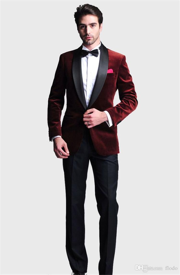 burgundy velvet slim fit groom tuxedos for men 2017 two piece shawl lapel mens suits jacket. Black Bedroom Furniture Sets. Home Design Ideas