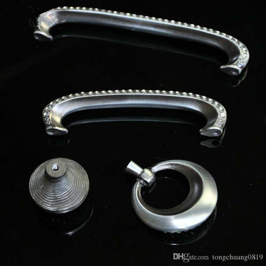 96mm 128mm european vinatge rhinestone furniture handle glass crystal dresser cabinet pulls handle antique iron drawer ringsknob